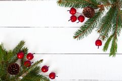 Nieuwjaar ` s, Kerstmisthema Groene spartakken met kegels, decoratieve bessen op witte houten achtergrond stock foto's