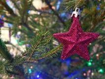 Nieuwjaar` s stuk speelgoed op de Kerstboomster, achtergrond Stock Fotografie