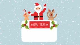 Nieuwjaar` s vectorachtergrond Santa Claus, herten, peperkoekmens met plaats voor tekst royalty-vrije illustratie