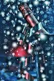 Nieuwjaar` s Vooravond, champagne in een emmer ijs stock fotografie