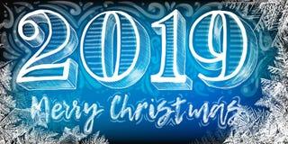 Nieuwjaar, 2019, schoolbord, hand-drawn Kerstmis 2019, sneeuwvlokken, Kerstmisetiket en gelukkig nieuw jaar, vector 2018 nieuwjaa vector illustratie