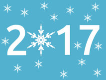 Nieuwjaar 2017, sneeuwvlok Royalty-vrije Illustratie