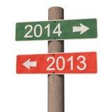 Nieuwjaar 2014 teken. Stock Foto's