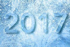 Nieuwjaar 2017 tekst met sneeuw wordt gemaakt die Stock Afbeeldingen