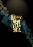 Nieuwjaar 2014 Tekstlichteffect stock illustratie