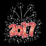 Nieuwjaar 2017 typografie Stock Illustratie