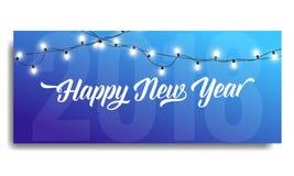 Nieuwjaar 2018 uitnodiging Kaartmalplaatje met gloeiende slingers en typografie Gelukkig nieuw jaar 2018 Royalty-vrije Stock Foto's