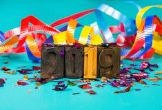 Nieuwjaar 2019 in uitstekend gezet letterzetsel Stock Foto's