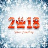 Nieuwjaar van de prentbriefkaar van de hondvakantie met pootvoetafdruk, vector vector illustratie
