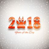 Nieuwjaar van de prentbriefkaar van de hondvakantie met pootvoetafdruk, vector stock illustratie