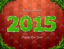 Nieuwjaar 2015 van gescheurde document gespelde speld Stock Afbeelding