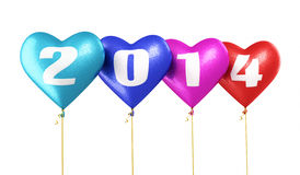 Nieuwjaar 2014 van hart het kleurrijke ballons Royalty-vrije Stock Foto's
