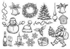 Nieuwjaar, vector de schetssymbolen van de Kerstmisvakantie stock illustratie