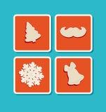 Nieuwjaar, vector, vakantie, Kerstmispictogrammen Royalty-vrije Stock Afbeelding