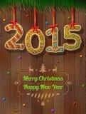 Nieuwjaar 2015 in vorm van peperkoek tegen houten achtergrond Royalty-vrije Stock Foto's