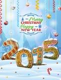 Nieuwjaar 2015 in vorm van peperkoeken in sneeuw Stock Fotografie