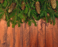 Nieuwjaarachtergrond in een rustieke stijl Takken van Kerstmis t Royalty-vrije Stock Afbeelding
