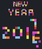 Nieuwjaarachtergrond 2017 kinderens ontwerper, stijl kleurde blokken Stock Fotografie