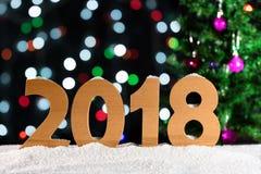 Nieuwjaarachtergrond 2018, lichtenslingers, bokeh Stock Afbeeldingen