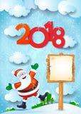 Nieuwjaarachtergrond met gelukkige Kerstman, teken en teksten Stock Afbeelding