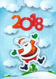 Nieuwjaarachtergrond met grappige Kerstman en teksten Stock Afbeeldingen