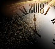 2018 nieuwjaarachtergrond met klok Royalty-vrije Stock Foto's