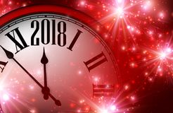 2018 nieuwjaarachtergrond met klok Royalty-vrije Stock Fotografie