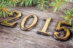 Nieuwjaarachtergrond met spardecoratie Royalty-vrije Stock Foto's