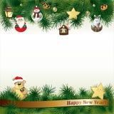 Nieuwjaarachtergrond met speelgoed in met de hand gemaakte stijl Vector Illustratie