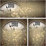 2018 nieuwjaarachtergronden met klok stock illustratie