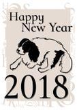 Nieuwjaaraffiche met het silhouet van een hond royalty-vrije stock foto