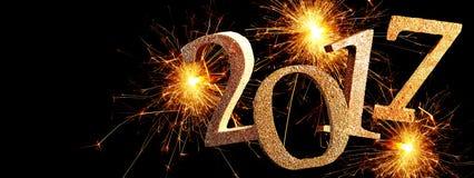 2017 nieuwjaarbanner met exploderend vuurwerk Stock Fotografie