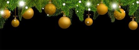 Nieuwjaarbanner met gouden Kerstmisballen Stock Afbeelding