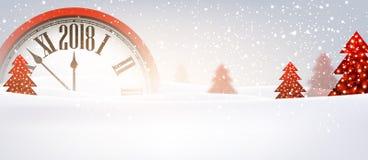 2018 nieuwjaarbanner met klok Stock Foto's