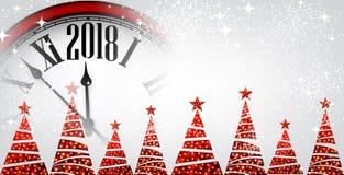 2018 nieuwjaarbanner met klok Royalty-vrije Stock Foto