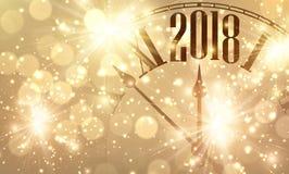 2018 nieuwjaarbanner met klok royalty-vrije illustratie