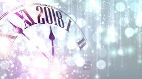 2018 nieuwjaarbanner met klok vector illustratie