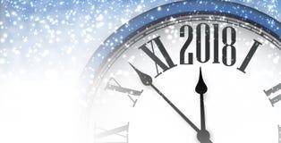 2018 nieuwjaarbanner met klok Stock Fotografie