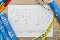 2018 nieuwjaarblauwdruk Royalty-vrije Stock Fotografie