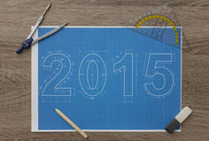2015 nieuwjaarblauwdruk Stock Foto