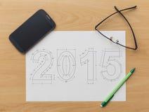 2015 nieuwjaarblauwdruk Royalty-vrije Stock Afbeelding