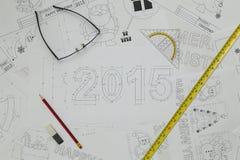2015 nieuwjaarblauwdruk Royalty-vrije Stock Foto
