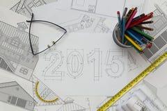 2015 nieuwjaarblauwdruk Stock Foto's
