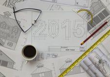 2015 nieuwjaarblauwdruk Royalty-vrije Stock Afbeeldingen