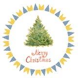 Nieuwjaarboom en vlaggen van groene, blauwe en rode geschilderde watercolo Royalty-vrije Stock Fotografie