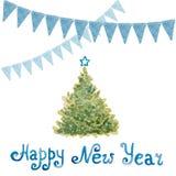 Nieuwjaarboom en vlaggen van groene, blauwe en rode geschilderde watercolo Royalty-vrije Stock Foto's