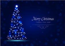 Nieuwjaarboom van vonken een Kerstmisachtergrond Stock Afbeeldingen