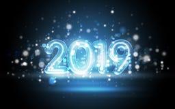 2019 nieuwjaarconcept met Kleurrijke Neonlichten stock foto