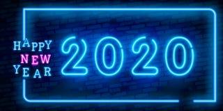 2020 Nieuwjaarconcept met Kleurrijke Neonlichten Retro Ontwerpelementen voor Presentaties, Vliegers, Pamfletten, Affiches of Pren stock afbeelding