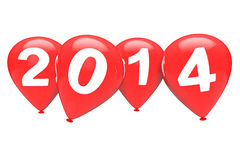 Nieuwjaarconcept. Rode Kerstmisballons met het teken van 2014 Stock Foto's